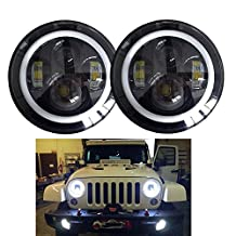 SXMA Pair 7inch Round CREE LED Headlights Hi/lo Beam Amber Signal Halo for 97-16 Jeep Wrangler with H4/H13 Adapter