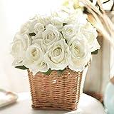 JUSTOYOU 2PCS Artificial Silk Rose Flowers Bouquet for Homes Table Wedding Arrangement (Cream White)