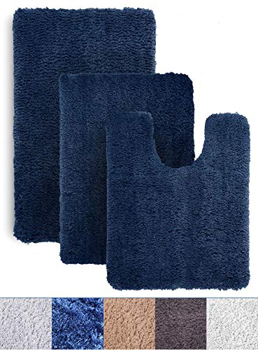 Bath Rug Sets - Luxe Rug Royal Blue Plush Bathroom Rugs Set Bath Shower Mat w Non Slip Microfiber Super Absorbent Rug Alfombras para Baños (3, Dark Blue)