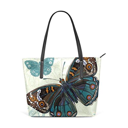 COOSUN Mariposa hermosa bolsa de cuero de la PU del hombro del monedero de los bolsos y bolsas de mano para las mujeres Medio Multicolor # 004