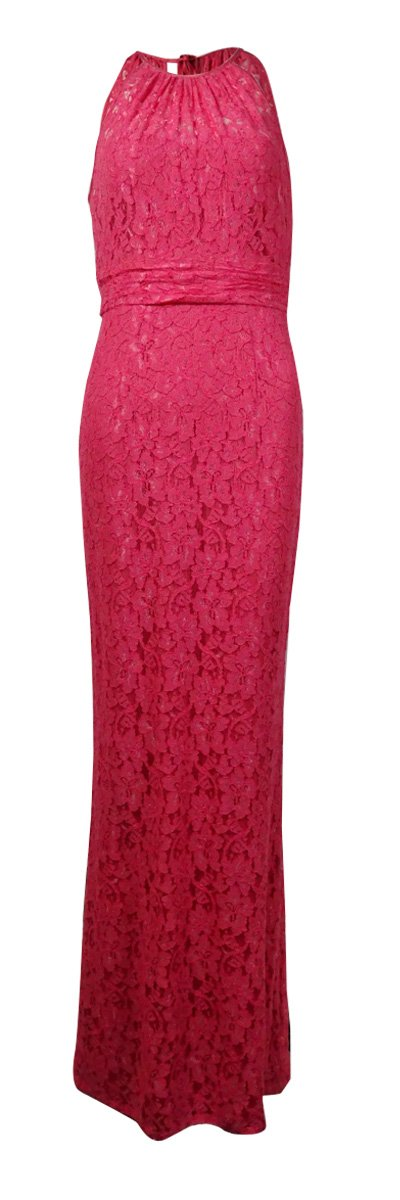 Adrianna Papell Womens Lace Halter Evening Dress Pink 10