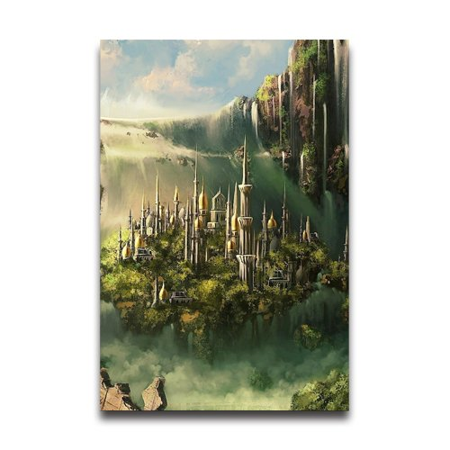Castle And Waterfall Design 20x30 Inch Art Print Wall Sticker For Home School (Bin Liner Witch Costume)