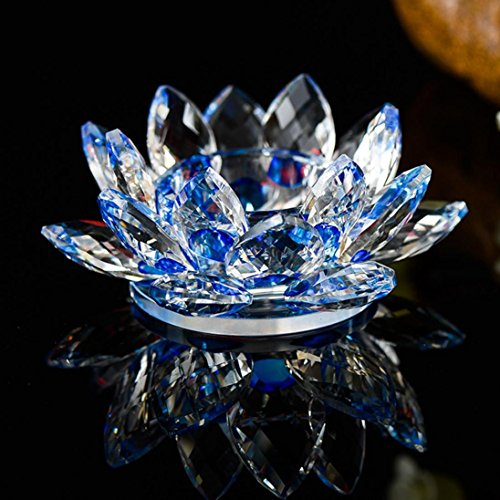 NXDA Crystal Glass Lotus Flower Buddhist Candlestick for Candle Tea Light Holder (D)
