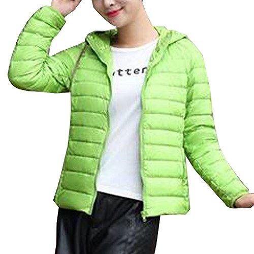 BOZEVON Women's Hooded Packable Ultra Lightweight Short Down Jacket Coat Green