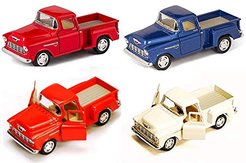 (Set of 4 Trucks:1955 Chevy Stepside PickUp Truck with Pull Back 5