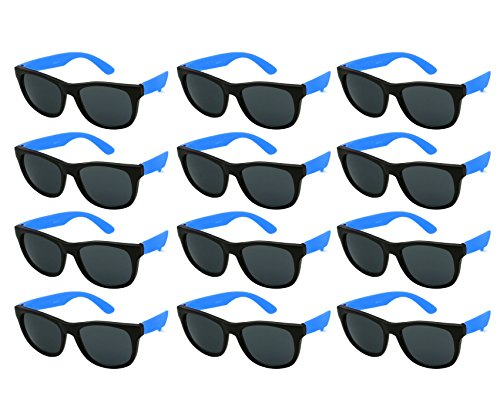 Edge I-Wear 12 Pack Fun Party Sunglass Neon Sunglasses for Kid Party Favors 80's style glasses Wholesale 9402RA/BU-12 -