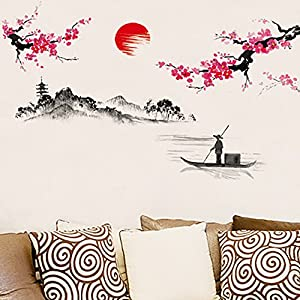 Adarl Chinese Plum Flower With Landscape Picture Wall Sticker