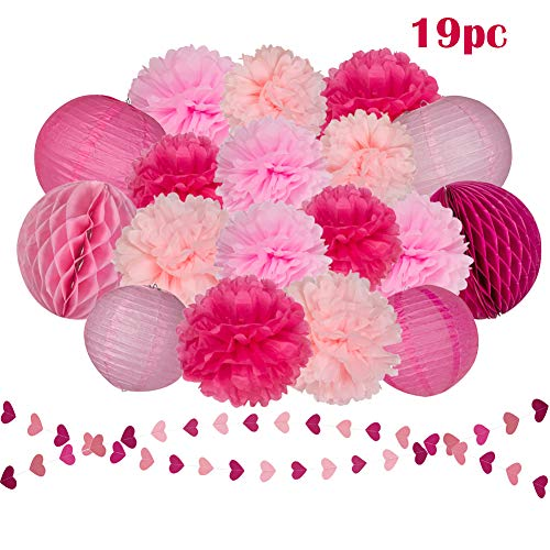 Pink Heart Boutique - Pink Rose Tissue Paper Flowers Pom Poms Lanterns Honeycomb Balls and Heart-Shaped Paper Garland for Baby Shower Party Decorations,Bachelor Party,Wedding Party,Nursery Wall Art Decor