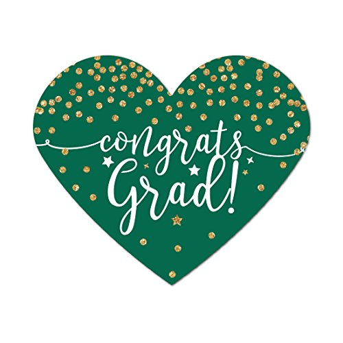 Andaz Press Emerald Forest Green and Gold Glittering Graduation Party Collection, Heart Label Stickers, Congrats Grad!, 75-Pack