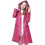 Trinny Women's Long Dot Waterproof Raincoat Rainwear Rain Jacket (Pink)