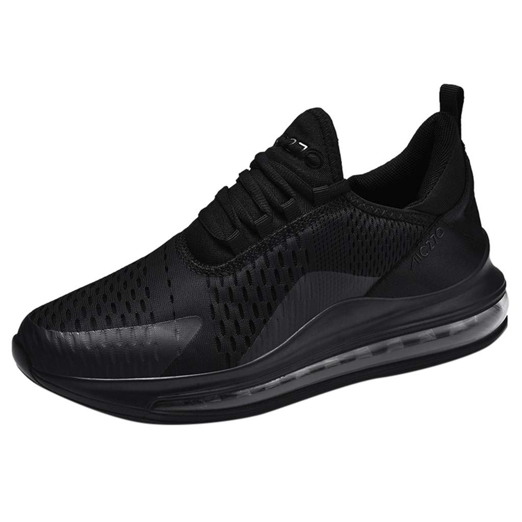 Lloopyting Women's Lace-Up Mesh Running Shoes Non-Slip Athletic Walking Sport Shoes Energy Elastic Soft Tennis Shoes Black