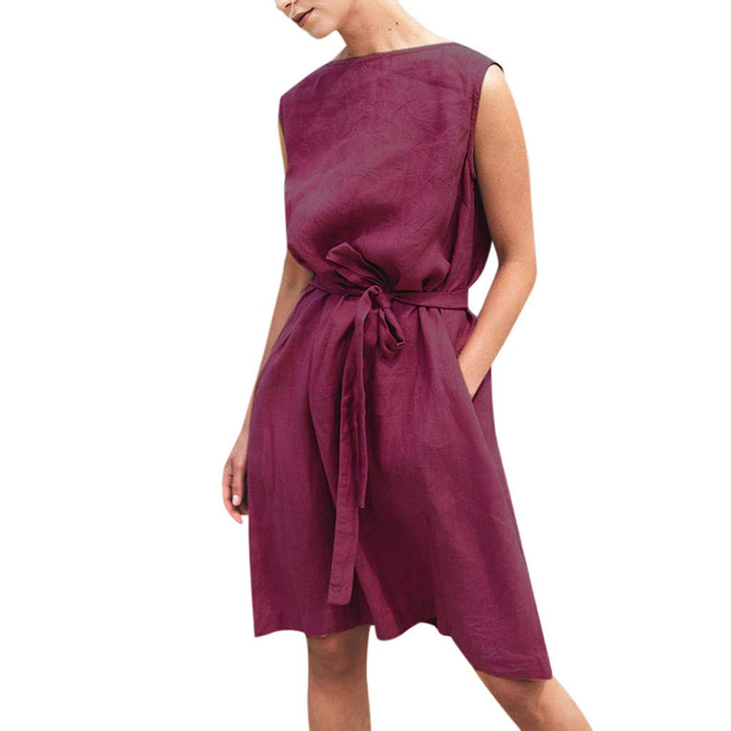 Sagton Summer Dresses for Women Sleeveless Solid Bandage Cotton Linen Casual Dress (Wine,M)