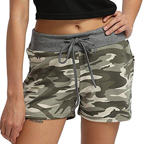 Shorts Elastique avec Shorts t Taille pour Couleur Cordon Femme de Pantalon Pantalon Court Streetwear Moyenne Camouflage Casual 4 Yying Plus Taille Taille La Mode Pxqd6wP