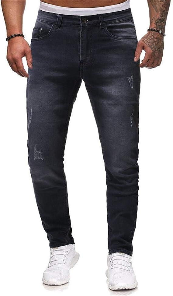 メンズジップワイドパンツ デニムパンツカジュアルパンツメンズジーンズ エフェクトライトウォッシュ (Color : Black, Size : L)