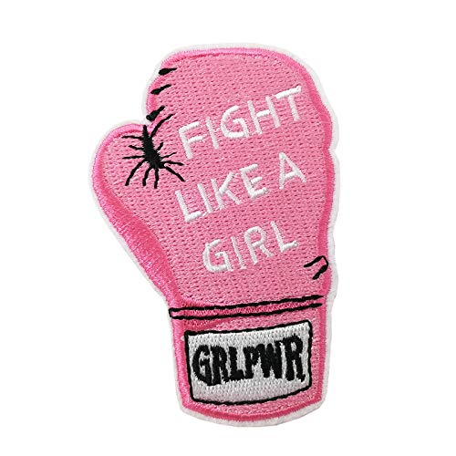 Girl Power Fight Like a Girl Boxing Glove Embroidered Iron On Patch Applique