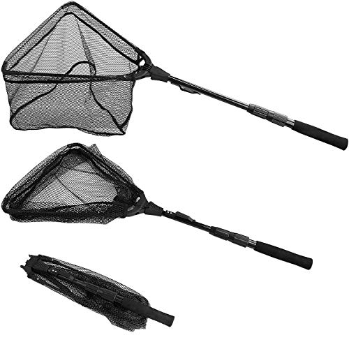 PLUSINNO Fishing Net Fish Landing Net, Foldable Collapsible Telescopic Pole Handle, Durable Nylon Material Mesh, Safe Fish Catching or Releasing ()