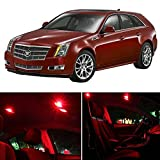 cciyu 9 Pack Red LED Bulb Replacement fit for 2003-2007 Cadillac CTS/CTS-V LED Interior Lights Accessories Replacement Package Kit