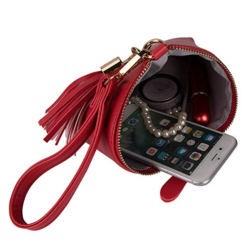 Leather Women Xidan Handbag Purse Tassel Red Triangle Clutch Wristlet PU Wallet 4qqxd7E