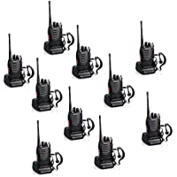 Baofeng BF-888S Rechargeable 3 Miles (5 km) Long Range 5W Two Way Radio Walkie Talkies 16 Channel Handheld Radio Built in LED Torch Microphone With Earpiece(Pack of 10) 10 Pack