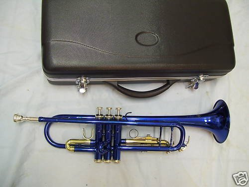 Blue trumpet with case and mouthpiece