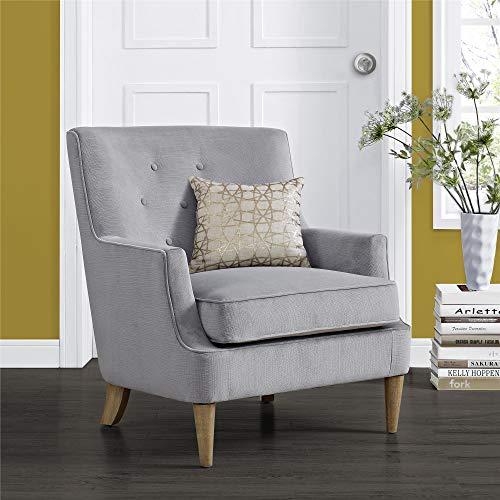 REALROOMS Florrie Retro Accent Arm Chair, Bedroom & Living Room, Gray
