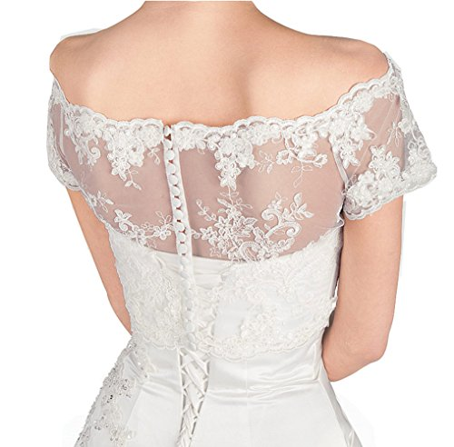 GEORGE BRIDE Lace Appliques Short Sleeves Wedding Jacket Bolero Bridal Coats (S, White) by GEORGE BRIDE (Image #1)