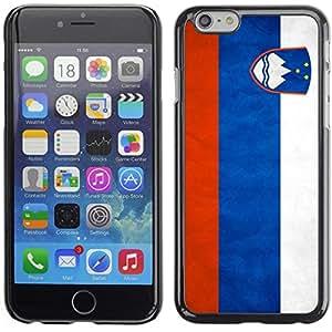 TopCaseStore / la caja del caucho duro de la cubierta de protección de la piel - Slovenia Grunge Flag - Apple iPhone 6 Plus 5.5