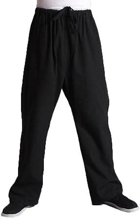 Amazon Com Para Hombre Pantalones De Artes Marciales Kung Fu Pantalones De Algodon Clothing