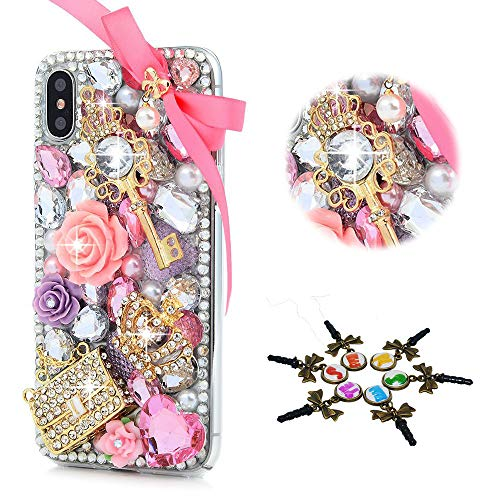 STENES iPhone Xs Max Case - Stylish - 100+ Bling Crystal - 3D Bling Handmade Bowknot Crown Key Bag Rose Flowers Design Cover for iPhone Xs Max 6.5 inch - Pink