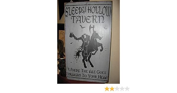 Vintage Wood Sleepy Hollow Tavern Sign Halloween Dollhouse Miniature 1:12 S339