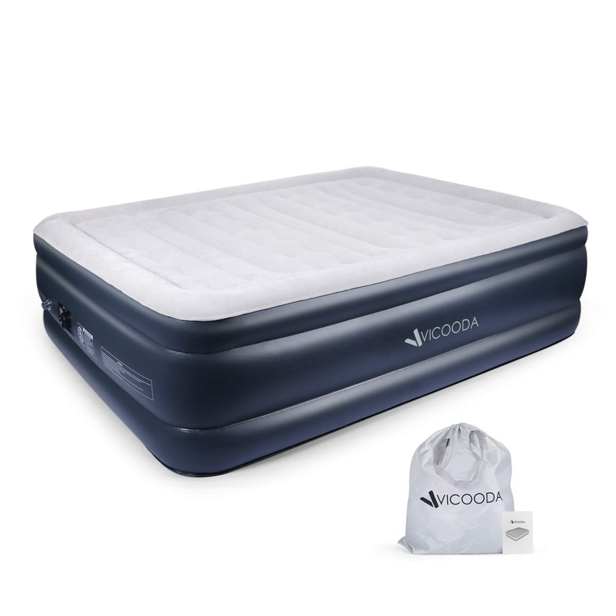 VICOODA Air Mattress Queen Size Blow Up Raised Guest Durable Firm Bed Inflatable Airbed with Built-in Electric Pump, 22 inch in Height, 650 lb in Capacity, PVC Materials, Upgraded & Easy Setup