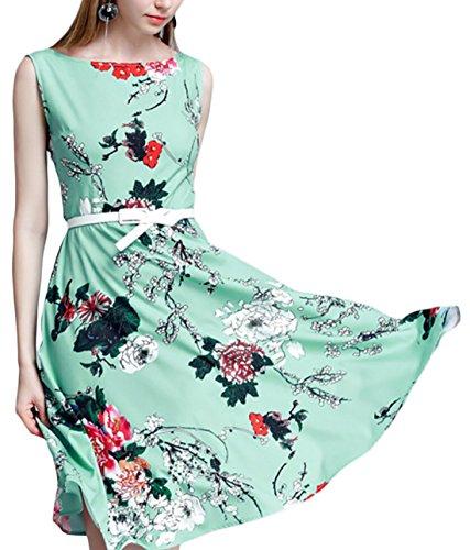 Jaycargogo Des Femmes De Fleur Élégante O-cou Rétro Robe Swing Imprimé 1