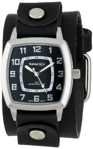 Nemesis-Mens-LBB017K-Vintage-Collection-Black-on-Black-Leather-Band-Watch
