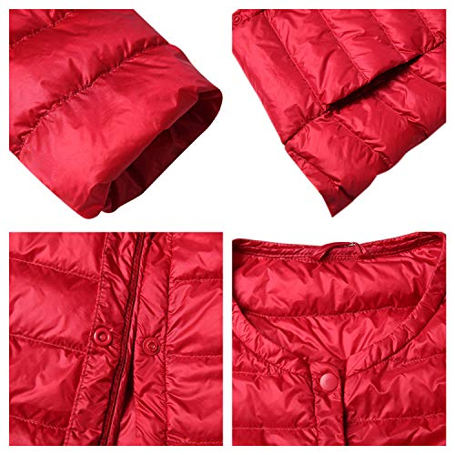 Puffer Women Red Jacket Coat Camping StarTreene Winter Outdoor Lightweight Hiking Long Packable Sleeve Down nIqndO