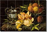 ''Still Life with Oranges and Lemons'' by Jean Capeinick - Artwork On Tile Ceramic Mural 17'' x 25.5'' Kitchen Backsplash