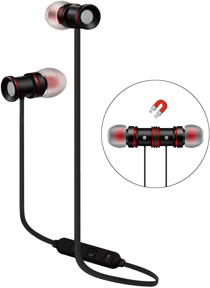 Wireless Stereo Earphones Black Sport Magnetic Clasp Compatible with Sonim XP8