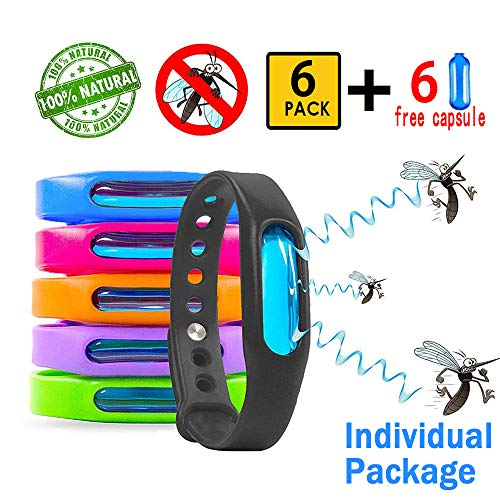 Mosquito Repellent Bracelet for Kids, Adults & Pets, 100% Natural Mosquito Repellent Band, Waterproof Safe Travel Anti Insect Bands for Outdoor & Indoor Protection UP to 720Hrs (6 Pack & 6 Refills)