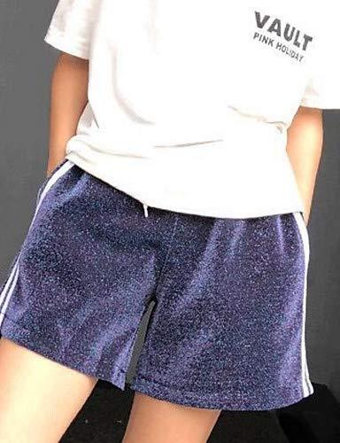 A Pantaloni Yfltz color Donna Donna Cotone In Alta Solido Vita Larghi Blue pantaloncini Block Da TxAwxqPSB