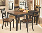 cheap dining table and chairs Ashley Furniture Signature Design - Owingsville Dining Room Table - Rectangular - Black and Brown