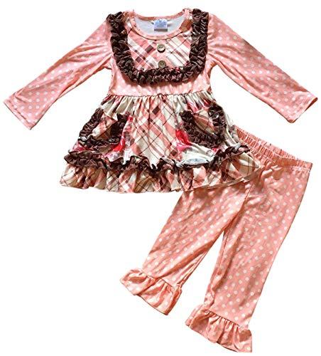 Big Girls' 2 Pieces Top Pant Set Polka Dot Ruffle Tunic Dress Pant Outfit Pant Outfit Pink 6 XL ()