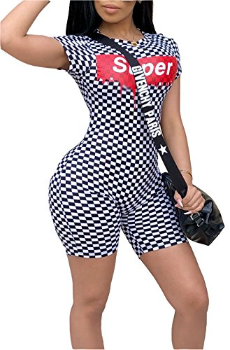 FEIYOUNG Women Short Sleeve Super Printed Skinny Camo Jumpsuit Shorts (X-Large, White-Dot)