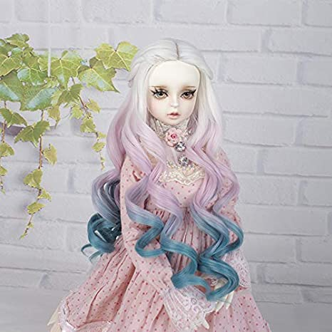 MUZI Wig High Temperature Doll Hair Wig Blue Long Winky Curly White Ombre Blue Synthetic Fiber Hair Wig BJD Doll Wigs for 1//3 BJD SD Doll