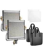 Neewer Led-videolampen, verlichtingsset: dimbaar tweekleurig LED-paneel 3200-5600K CRI 96+ 2 m lichtstatief en softbox diffuser voor fotostudio portret YouTube Video, (2)480 LED Panel