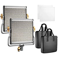 Neewer 2 Packs Dimmable Bi-color 480 LED with U Bracket Professional Video Light for Studio, YouTube Outdoor Video Photography Lighting Kit, Durable Metal Frame,3200-5600K, CRI 96