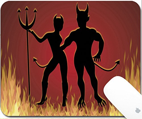 Easy Disco Costume Ideas (Luxlady Gaming Mousepad illustration of She Devil and He Devil dancing in fire 9.25in X 7.25in IMAGE: 1841637)