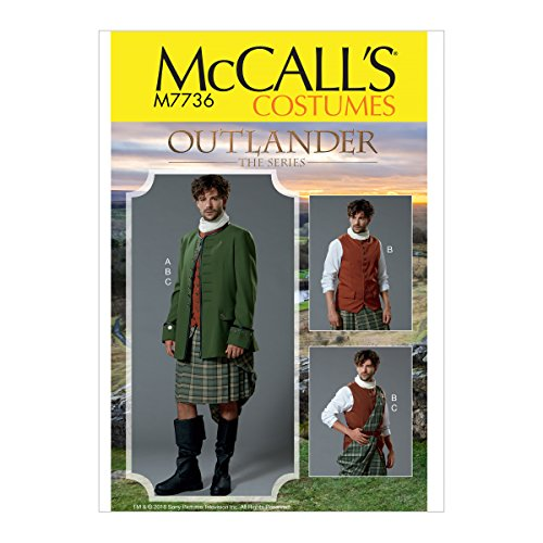 McCall's Patterns M7736MQQ Men's Outlander Cosplay Halloween Costume Sewing Pattern, 3pcs, Sizes 46-52]()