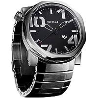 SISU Bravado Q3 Quartz Men's Watch, Black Dial, Stainless Steel Bracelet (Model: BQ3-50-SS)