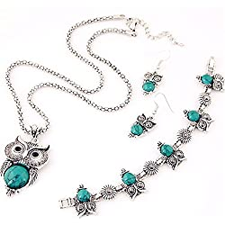 TraveT Retro Turquoise Owl Bracelet Earrings Necklace Three - pieces Jewelry Set