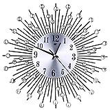 FZZ698 3D Wall Clock, Diamonds Decorative Clock, for Home Kitchen Office Diameter 38cm (Black)