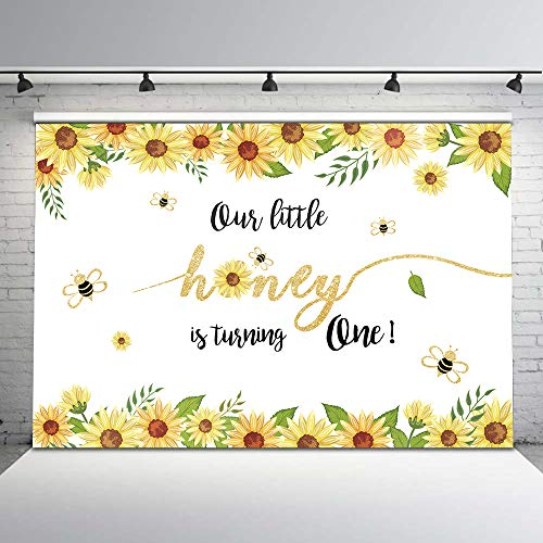Mehofoto Bee Birthday Backdrop Honey Bee Girl First Birthday Photo Backdrops 7x5ft Sunflower Background for 1st Birthday Party Studio Props